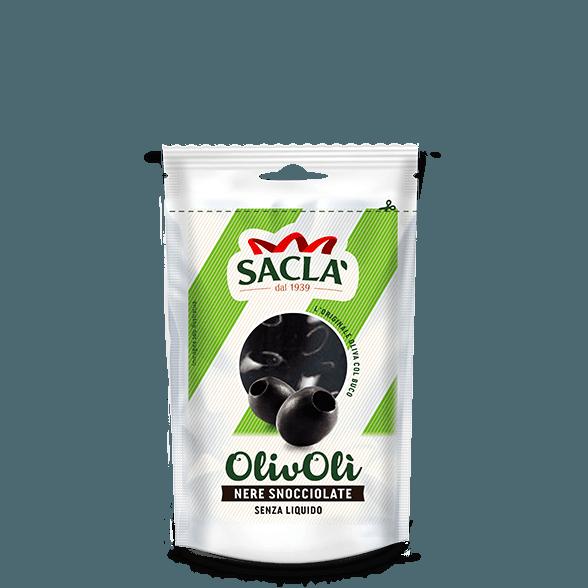 Entkernte schwarze Oliven in Salzlake (75g)