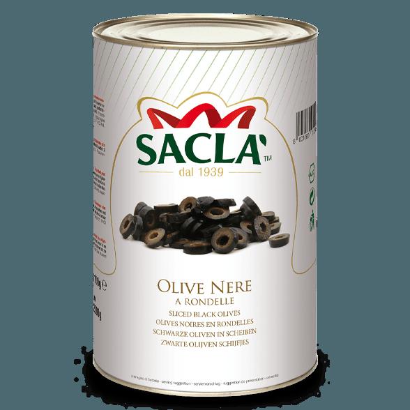 Schwarze Oliven in Scheiben in Salzlake (4,1kg)
